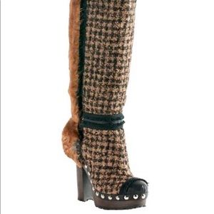Chanel Tweed Fantasy Fur Calf Boots